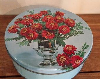 Turqouise and Orange Chrysanthemum Tin