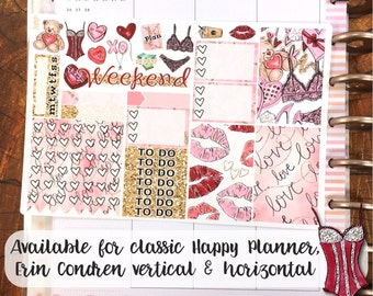 Valentine's Day Glitter & Lace sampler stickers - for Happy Planner, Erin Condren Vertical and Horizontal Planners -February date watercolor