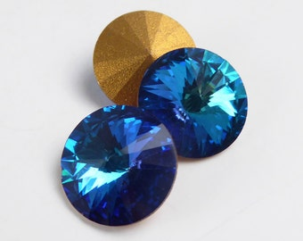 Vintage Swarovski Rivoli crystal rhinestones, art 1122, Bermuda Blue - 14 mm - 2 pcs - C28