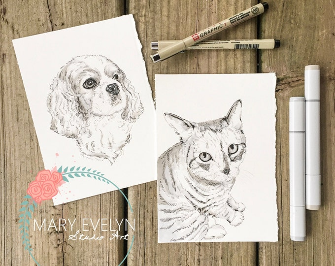 "Featured listing image: 5""x 7"" Original Custom Pen and Ink Pet Portrait Illustration"