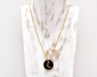 Leather personalized necklace, half moon pendant, gold plated chain