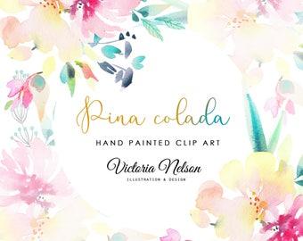 Floral Hand-painted Watercolour Digital Art - PINA COLADA