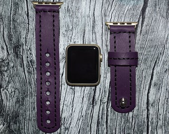 Purple Genuine leather apple watch band 38mm / 42mm // apple watch strap accessories - lugs adapter - iwatch band gold - iwatch strap