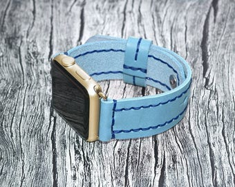 Apple watch band leather // Blue leather apple watch accessories 38mm / 42mm - apple watch strap leather - lugs adapter - iwatch band women