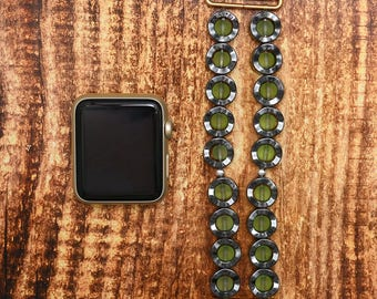 Hematite and Green Quartz apple watch band 42mm / 38mm // apple watch strap - iwatch band accessories - iwatch strap adapter - no-clasp