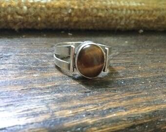 Vintage silver tiger's eye ring retro 70s tigers eye ring
