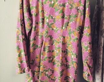 SUMMER SALE 1960s retro psychedelic flower print spring summer dress size small medium boho hippie