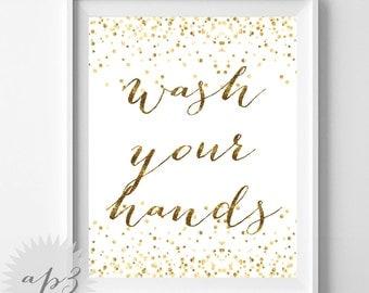 Wash Your Hands Sign Printable, Gold Confetti Wash Your Hands Print, Kids Wall Art, Bathroom Rules Printable, Printable Nursery Decor