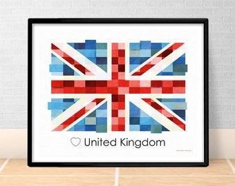 United Kingdom Flag Print Poster Wall art Union Jack UK Europe flags British printable download Decor Digital Print gift GreenGreenDreams