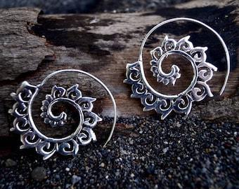"Boho Spiral Earrings ""Lotus Wave"" Silver"