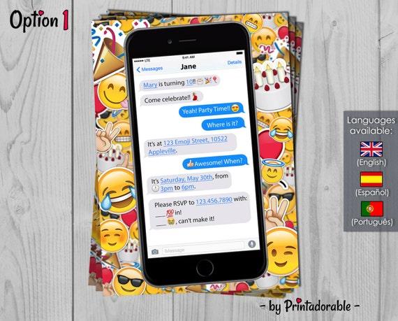 Emoji Invitation - Messenger Birthday Invite - Smiley Theme Party - Emoticons Printables
