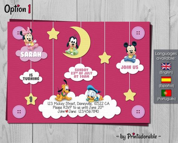 Baby Disney Invitation - Disney Birthday Invite - Mickey, Minnie, Donald, Pluto and Goofy - Digital Printable Fully Customizable