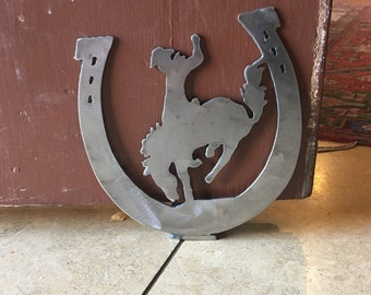 Steel Doorstop Horseshoe Bucking Bronc Cowboy
