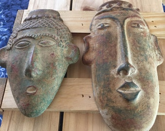 Mexican Ceramic Masks, Masks for Wall, Set of 2 Mexican Masks, Wall Art Mexican Masks