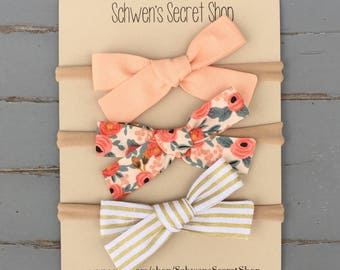 Spring hand tied bows, baby girl headband, baby girl bows, baby headband, nylon headband, school girl bows, infant headband, newborn bows
