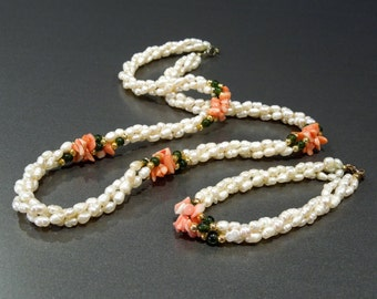 VINTAGE: Torsade Fresh Water Pearl Necklace Set - Twisted Pearl Necklace and Bracelet - (12-B3-00007507)