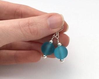 Blue frosted glass bead earrings / ice blue earrings / winter earrings / Frozen earrings / blue jewellery / elegant earrings gift for her
