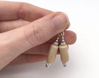 Natural earrings / ceramic bead earrings / everyday earrings / rustic earrings / boho earrings / minimalist earrings / birthday gift