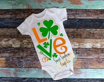 FREE SHIPPING***LOVEShamrock/Clover St. Patricks Day Shirt,Baby and Youth Sizes.St Patty Day,Good Luck Charm,4 Leaf Clover,Lucky,Shamrock