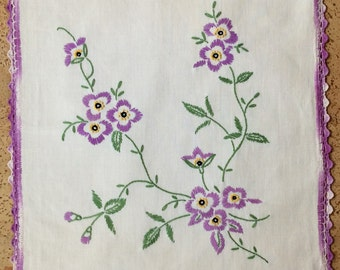 Vintage Doily With Purple Flowers
