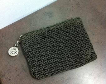 Vintage Change Purse - Deep Green Crochet Style Bag - Purse Accessory