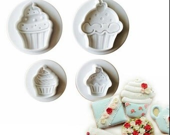 Set  of 4pcs Ice cream spring press, three-dimensional biscuits cut, baking DIY biscuit tools, cake mold