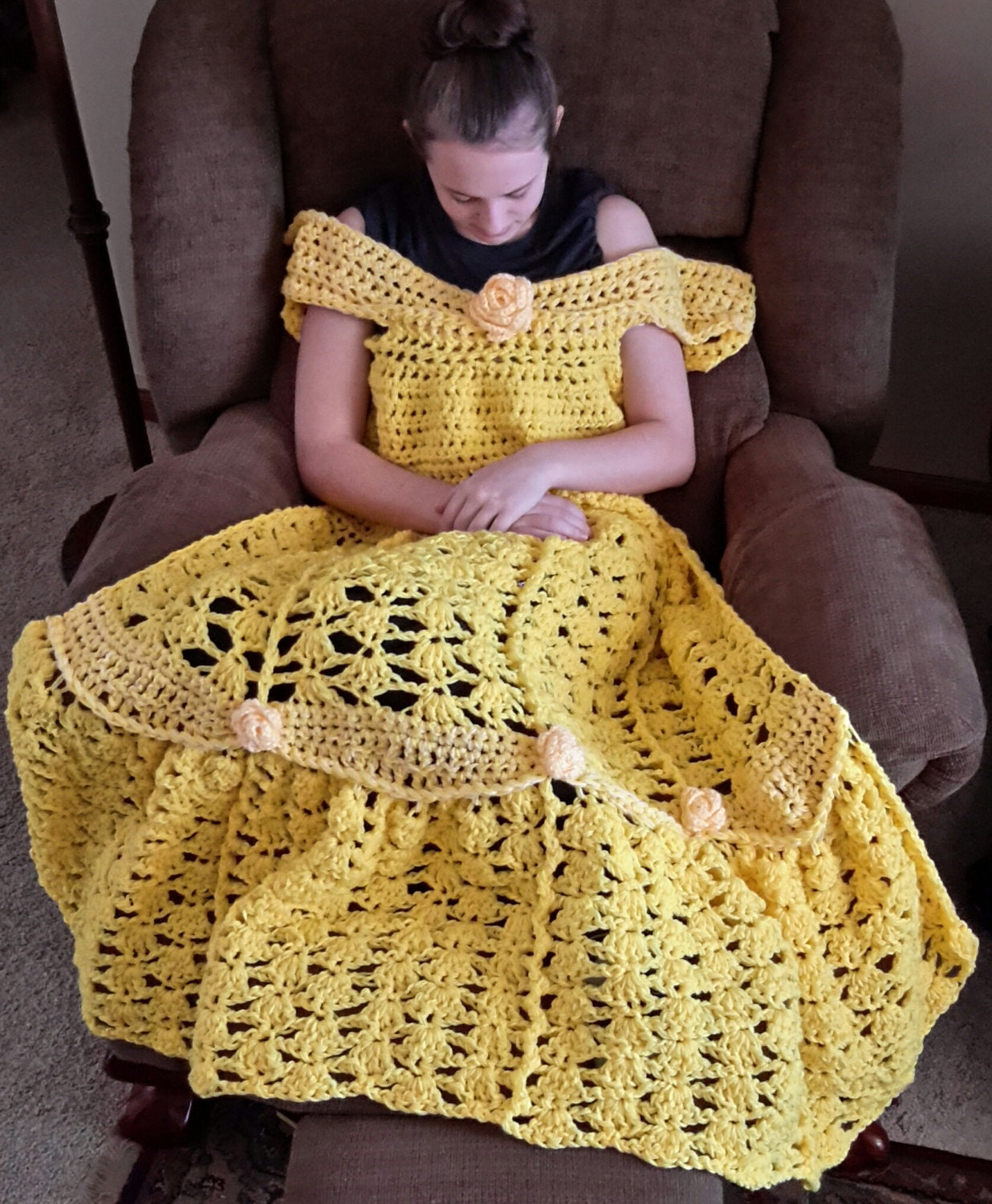 Beautiful crochet dresses for kids trendy - Princess Dress Blanket Yellow Crochet Pattern Digital Download Pdf Only Toddler