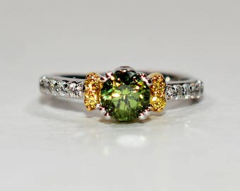 40% OFF SALE with free resizing!! One In A Million A Jaffe 1.40tcw Demantoid & Yellow/White Diamond 18kt White/Yellow Gold Ring