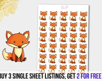 Fox Stickers, Fox Planner Stickers, Fox Sticker, Animal Stickers