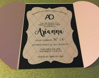 Set of 10-Classy and fabulous birthday party invitation/pink and black/
