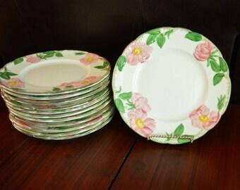 """Franciscan Desert Rose 8"""" Salad Plates with Brown TV Backstamp - Set of 12"""
