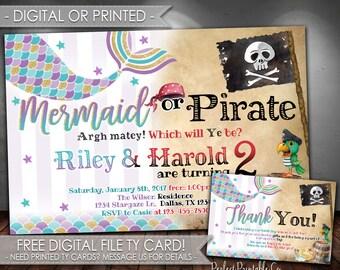 Mermaid or Pirate Invitation, Mermaid or Pirate Birthday Invitation, Mermaid Invitation, Pirate Invitation, Digital File or Printed #576