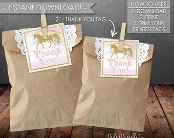 Unicorn Thank You Tags, Unicorn Favor Tags, Unicorn Gift Tags, Unicorn Birthday, Unicorn Baby Shower, Instant Download, Printable PDF #512