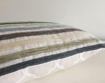 Pillow Cover Aqua Blue Stripe