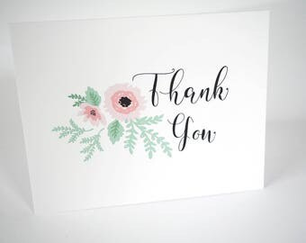 Thank You Cards - Scripty Floral Collection