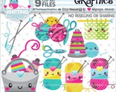 Knitting Clipart, Knitting Graphics, COMMERCIAL USE, Handmade Clipart, Planner Accessories, Craft Clipart, Creative Cliparts