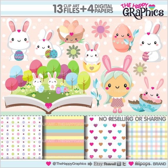 Easter Clipart, Easter Graphics, COMMERCIAL USE, Kawaii Clipart ...