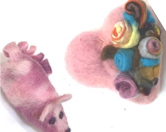 Rose-Heart, pink mouse, needle felted Ornaments.
