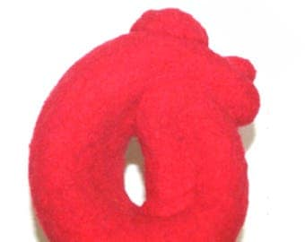 3D Red Felted Wool Figurine, Unique Ornament, Original Hand Crafted Ornament, Needle Felted Ornament, Genuine Hand Felted Item,Fridge Magnet