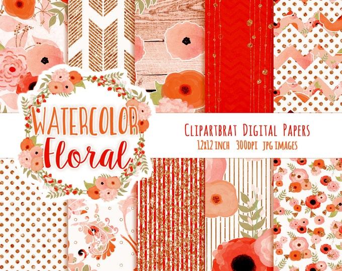 FLORAL WATERCOLOR Digital Paper Pack Coral Peach & Copper Metallic Commercial Use Digital Paper Wood Arrows Bohemian Wedding Digital Paper
