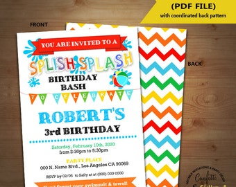 Splish Splash party birthday invitation primary colors summer pool party Instant Download YOU EDIT TEXT and print yourself invite 5477