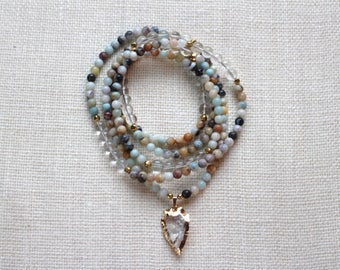 Long Quartz Arrowhead Beaded Necklace, Long Beaded Amazonite Necklace, Long Arrowhead Necklace, Long Layering Necklace, Long Beaded Necklace