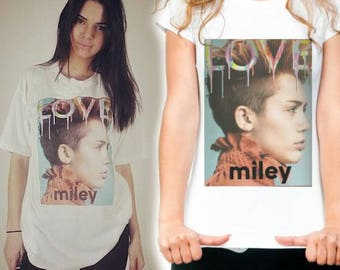 Womens Designer Miley Cyrus Love Cover as worn by Kendall Jenner -  Printed Cotton White T-Shirt