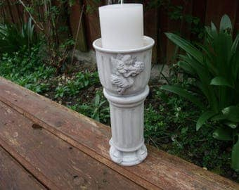 column candle holder,pottery candle holder,up-cycled candle holder,shabby home,home decor