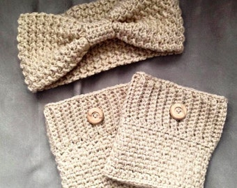 Woman's Ear Warmer and Boot Cuff Set, Leg Warmer, Headband, Ear Warmer, Boot Cuffs, Winter Set, Gift for her, Stocking Stuffer