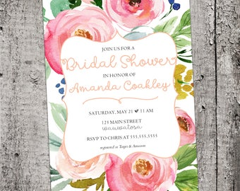 5x7 Blush Watercolor Flowers Bridal Shower Invitation Printable