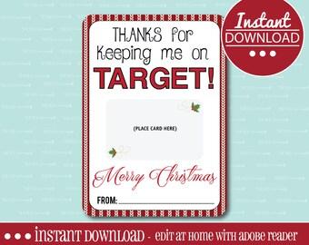 Target GIFT CARD HOLDER, Printable, Editable, Gift Card Holder, Teacher Appreciation Gift, Instant Download, Adobe Reader, Teacher Gift