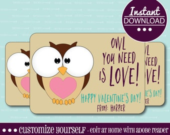 CUSTOM VALENTINE CARDS, Owl You Need Is Love, Owl, Customizable, Printable, Valentine, Valentine's Day, Kids, Printable Valentine Card