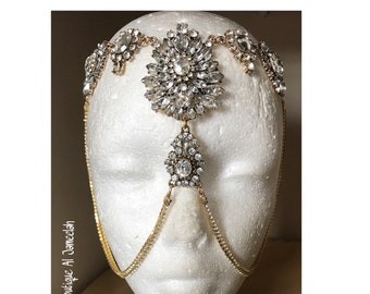 Made to Order Gold Head Chain, Gold headchain, Gold Facechain, Face chain,  Crystal Face chain, Crystal Masquerade mask