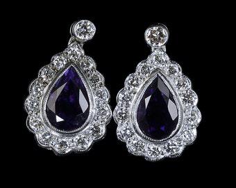 Diamond Amethyst Earrings 2.60ct Diamond 4ct Amethyst